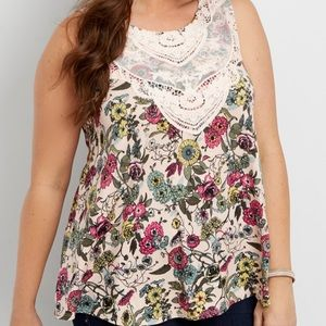 Maurices Pink Floral Crochet Babydoll Tank Top